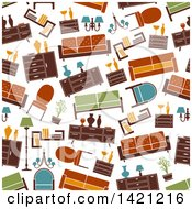 Clipart Of A Seamless Pattern Background Of Furniture Royalty Free Vector Illustration