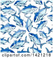 Clipart Of A Seamless Pattern Background Of Tuna Royalty Free Vector Illustration by Vector Tradition SM