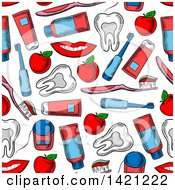 Seamless Pattern Background Of Dental Items