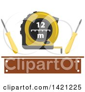 Clipart Of Measuring Tape With Flat Tip Screwdrivers Over A Brown Banner Royalty Free Vector Illustration by Vector Tradition SM