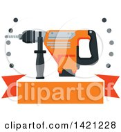 Clipart Of A Rotary Hammer Drill With Holes Over A Blank Orange Banner Royalty Free Vector Illustration by Vector Tradition SM
