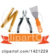 Clipart Of A Spatula Pliers And Folding Ruler Over A Blank Orange Banner Royalty Free Vector Illustration by Vector Tradition SM