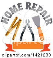 Clipart Of Home Repair Text Over A Spatula Pliers And Folding Ruler Over A Blank Orange Banner Royalty Free Vector Illustration by Vector Tradition SM
