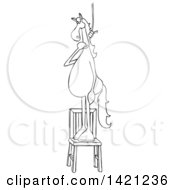 Cartoon Black And White Lineart Horse Standing On A Chair With A Noose Around Its Neck