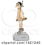 Clipart Of A Cartoon Caveman Standing On A Boulder With A Noose Around His Neck Royalty Free Vector Illustration
