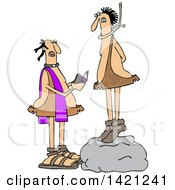 Clipart Of A Cartoon Priest Reading A Caveman His Last Rights As He Stand On A Boulder With A Noose Around His Neck Royalty Free Vector Illustration