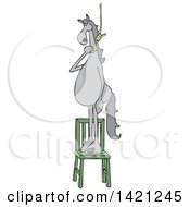 Clipart Of A Cartoon Gray Horse Standing On A Chair With A Noose Around Its Neck Royalty Free Vector Illustration