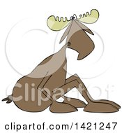 Clipart Of A Cartoon Moose Sitting On The Ground And Leaning Forward Royalty Free Vector Illustration