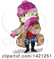 Clipart Of A Cartoon Blond Caucasian Girl In Winter Clothes Royalty Free Vector Illustration