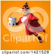 Clipart Of A 3d Buff Red White Male Super Hero Royalty Free Illustration