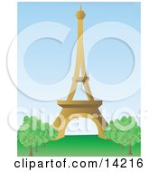 The Beautiful Eiffel Tower On The Champ De Mars In Paris France Clipart Illustration