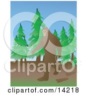 Bigfoot Or Sasquatch Walking Through A Forest Clipart Illustration by Rasmussen Images