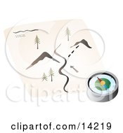 Compass Resting On A Hiking Map Clipart Illustration