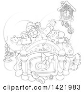 Clipart Of A Black And White Lineart Santa Claus Stretching In His Bed Royalty Free Vector Illustration by Alex Bannykh