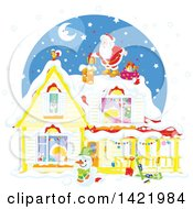 Clipart Of A Christmas Eve Scene Of Santa Claus On Top Of A Home With Children Sleeping Inside Visible Through The Windows Royalty Free Vector Illustration