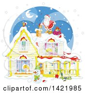 Clipart Of A Cartoon Christmas Eve Scene Of Santa On Top Of A Home With Children Sleeping Inside Visible Through The Windows Royalty Free Vector Illustration