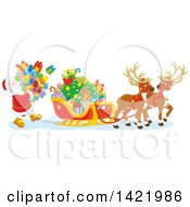 Clipart Of A Reindeer Waiting As Santa Loads His Sleigh With Christmas Gifts Royalty Free Vector Illustration