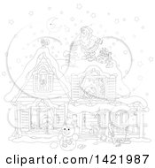 Clipart Of A Black And White Lineart Christmas Eve Scene Of Santa Claus On Top Of A Home With Children Sleeping Inside Visible Through The Windows Royalty Free Vector Illustration