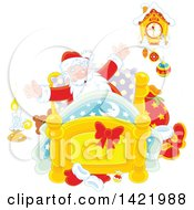 Clipart Of Santa Claus Stretching In His Bed Royalty Free Vector Illustration by Alex Bannykh