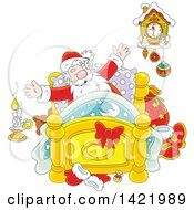 Clipart Of Cartoon Santa Stretching In His Bed Royalty Free Vector Illustration