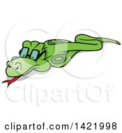 Cartoon Green Cobra Snake Wearing Glasses