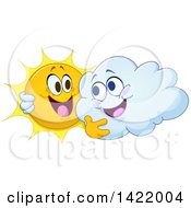 Clipart Of A Cartoon Happy Sun And Cloud Hugging Royalty Free Vector Illustration