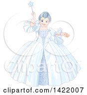 Happy Plump Fairy Godmother In A Wintry Dress Holding Up Her Magic Wand