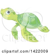 Clipart Of A Cute Green Baby Sea Turtle Swimming Royalty Free Vector Illustration by Pushkin
