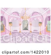 Clipart Of A Pink Palace Interior With Plants Candles A Chandelier And Paintings Royalty Free Vector Illustration
