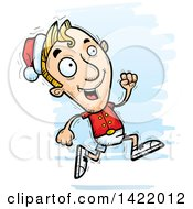 Cartoon Doodled Male Christmas Elf Running