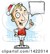 Cartoon Doodled Male Christmas Elf Holding Up A Finger And Talking