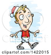 Cartoon Doodled Male Christmas Elf Walking