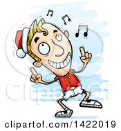 Clipart Of A Cartoon Doodled Male Christmas Elf Dancing To Music Royalty Free Vector Illustration by Cory Thoman