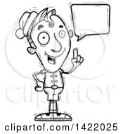 Clipart Of A Cartoon Black And White Lineart Doodled Male Christmas Elf Holding Up A Finger And Talking Royalty Free Vector Illustration