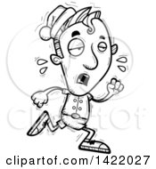 Cartoon Black And White Lineart Doodled Exhausted Male Christmas Elf Running
