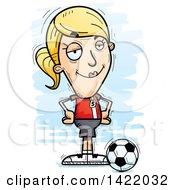 Clipart Of A Cartoon Doodled Confident Female Soccer Player With Hands On Her Hips Royalty Free Vector Illustration
