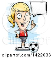 Clipart Of A Cartoon Doodled Female Soccer Player Holding Up A Finger And Talking Royalty Free Vector Illustration