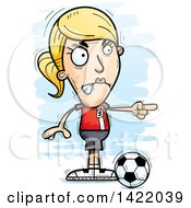 Clipart Of A Cartoon Doodled Female Soccer Player Angrily Pointing The Finger Royalty Free Vector Illustration