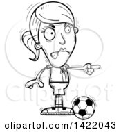 Clipart Of A Cartoon Black And White Lineart Doodled Female Soccer Player Angrily Pointing The Finger Royalty Free Vector Illustration