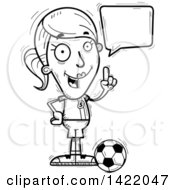Clipart Of A Cartoon Black And White Lineart Doodled Female Soccer Player Holding Up A Finger And Talking Royalty Free Vector Illustration