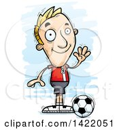 Clipart Of A Cartoon Doodled Male Soccer Player Waving Royalty Free Vector Illustration by Cory Thoman