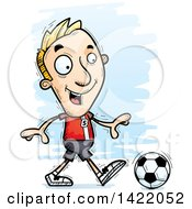 Clipart Of A Cartoon Doodled Male Soccer Player Walking Royalty Free Vector Illustration by Cory Thoman