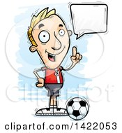 Clipart Of A Cartoon Doodled Male Soccer Player Holding Up A Finger And Talking Royalty Free Vector Illustration by Cory Thoman