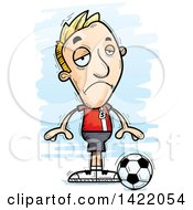 Clipart Of A Cartoon Doodled Depressed Male Soccer Player Royalty Free Vector Illustration by Cory Thoman