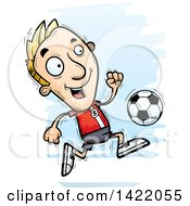 Clipart Of A Cartoon Doodled Male Soccer Player Running Royalty Free Vector Illustration by Cory Thoman