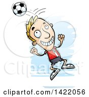 Clipart Of A Cartoon Doodled Male Soccer Player Jumping And Bouncing A Ball Off Of His Head Royalty Free Vector Illustration by Cory Thoman