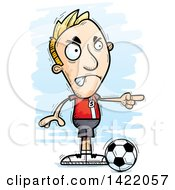 Clipart Of A Cartoon Doodled Male Soccer Player Angrily Pointing The Finger Royalty Free Vector Illustration