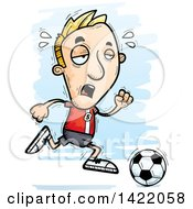 Clipart Of A Cartoon Doodled Exhausted Male Soccer Player Running Royalty Free Vector Illustration by Cory Thoman