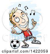 Clipart Of A Cartoon Doodled Male Soccer Player Dancing To Music Royalty Free Vector Illustration by Cory Thoman