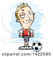 Clipart Of A Cartoon Doodled Confident Male Soccer Player With Hands On His Hips Royalty Free Vector Illustration by Cory Thoman